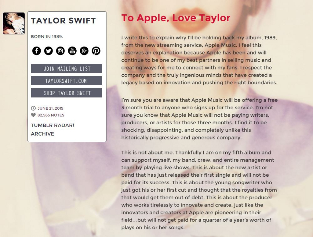 Blog First by Taylor Swift